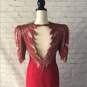 Lillie Rubin Dresses - Red and Gold Beaded Evening Gown